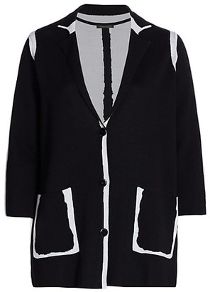 Marina Rinaldi, Plus Size Micron Merino Wool Jacquard Cardigan