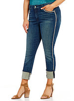NYDJ Plus Alina Wide Cuff Embroidered Ankle Jeans