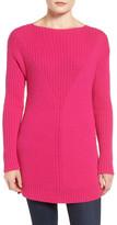 Vince Camuto Rib Knit Long Sweater (Petite)
