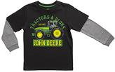 John Deere Black 'Tractors & Plows' Layered Tee - Boys
