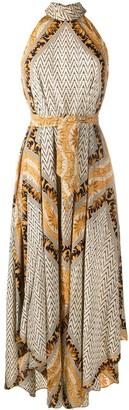 Mes Demoiselles Mixed-Print Tie-Waist Dress