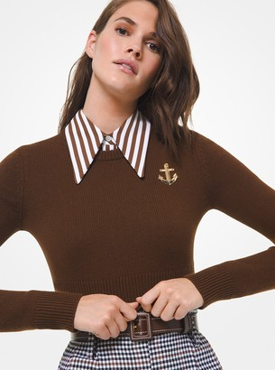 Michael Kors Anchor Embellished Cashmere Cropped Sweater