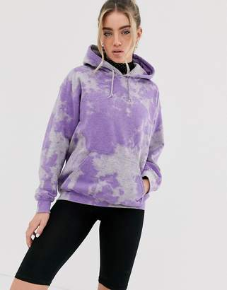 New Girl Order oversized hoodie in tie dye with back graphic-Purple