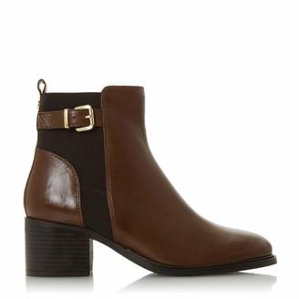 Dune London Dune Ladies Women's Poetic Buckle Block Heel Ankle Boots Size UK 6 Dark Brown Block Heel Ankle Boots