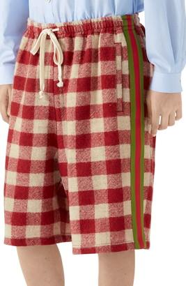Gucci Oversize Check Wool Shorts