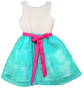 Joe Ella Kiki Bright Ribbon Sash Aqua Skirt Dress (Little Girls & Big Girls)