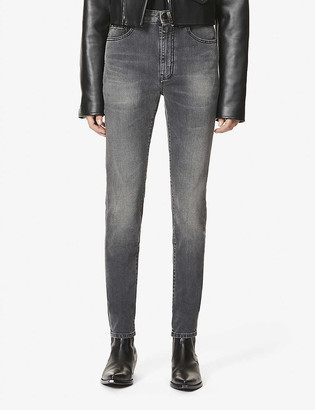 Saint Laurent Faded skinny high-rise stretch-denim jeans