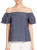 Alice + Olivia Loryn Off-The-Shoulder Chambray Top