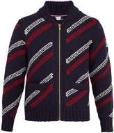 Moncler Gamme Bleu Shawl-collar striped-intarsia wool cardigan