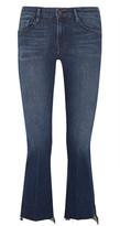 Frame Le Crop Mini Frayed Mid-rise Bootcut Jeans - Dark denim