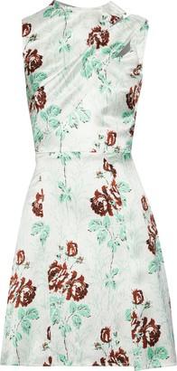 Victoria Beckham Draped Floral-print Crinkled Satin-crepe Mini Dress
