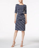 Connected Ruched Printed Sheath Dress