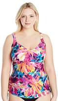 Maxine Of Hollywood Women's Plus Size Bathing Suit Top with Underwire - Sunburst