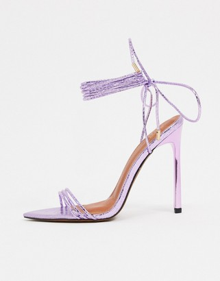ASOS DESIGN Nadine tie leg high heeled sandals on pointed insole in purple
