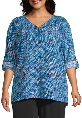 East Fifth East 5th Quarter Zip Collarless Top - Plus