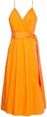 Cecilie Copenhagen Lonni Embroidered Cotton-poplin Midi Wrap Dress