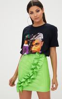PrettyLittleThing Lime Green Oversized Ruffle Vinyl Mini Skirt
