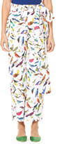 Carolina Herrera Bird-Print Straight-Leg Poplin Pants w/ Self-Tie Belt