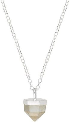 Mirabelle Jewellery Short Rock Crystal Point Pendant Sterling Silver