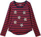 Joe Fresh Kid Girls' Stripe Sequin Tee, Red (Size L)