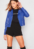 Missy Empire Sydney Royal Blue Faux Leather Biker Jacket