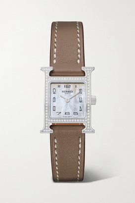 HERMÈS TIMEPIECES Heure H 17.2mm Very Small Stainless Steel, Leather, Mother-of-pearl And Diamond Watch - Brown