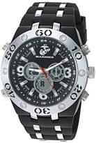U.S. Marines Men's Analog-Digital Chronograph Silver-Tone and Black Silicone Strap Watch by Wrist Armor