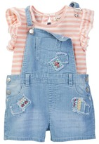 Jessica Simpson Patched Overall & Striped Shirt Set (Toddler Girls)
