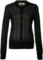 Nina Ricci striped perforated cardigan - women - Polyester/Viscose/Wool - M