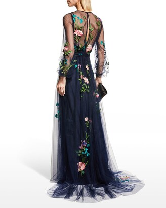 Monique Lhuillier Embroidered Puff-Sleeve Tulle Gown