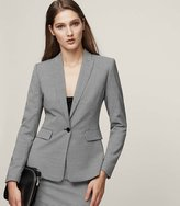 Reiss Mason Jacket - Houndstooth Single-breasted Blazer in White, Womens
