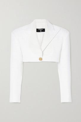 Balmain Cropped Tweed Blazer - White