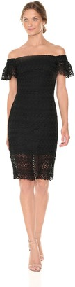 Bebe Women's Missy Black Lace Off-The Shoulder Dress with Ruffle Sleeve 4