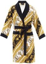 Versace - Baroque Print Cotton Terrycloth Robe - Mens - White Gold
