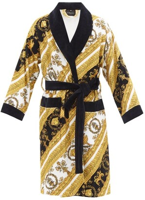 Versace Baroque Print Cotton Terrycloth Robe - Mens - White Gold