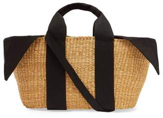 Muun George Canvas And Woven Grass Bag - Womens - Black