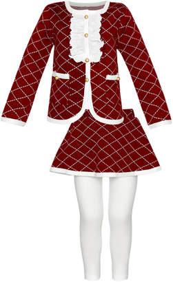 Mia Belle Girls Diamond Burgundy Legging Set