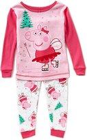 Komar Kids Little Girls 2T-4T Christmas Peppa The Pig Top & Pants Pajama Set