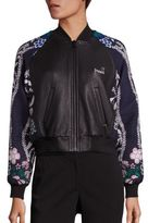 Yigal Azrouel Leather & Jacquard Bomber Jacket