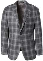 Banana Republic Slim Gray Plaid Italian Wool Flannel Suit Jacket