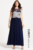 Little Mistress Curvy Navy Embroidered Maxi Dress