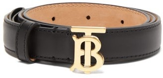 Burberry Tb-logo Buckle Leather Belt - Womens - Black Gold