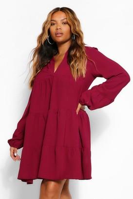 boohoo Plus Woven Tiered Smock Dress