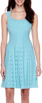London Times London Style Collection Cap-Sleeve Pleated Fit-and-Flare Dress - Petite