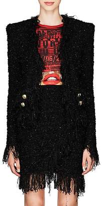 Balmain Women's Fringed Tweed Collarless Jacket - Black