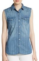 True Religion Georgia Printed Denim Sleeveless Shirt