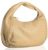 straw yellow woven leather large hobo