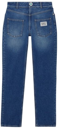 Burberry Straight Fit Logo Detail Reconstructed Jeans