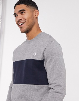 Fred Perry colour block crew neck sweat in grey