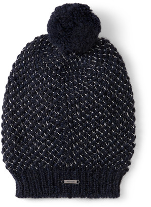 Jimmy Choo VIDA Navy Blended Wool Knit Hat